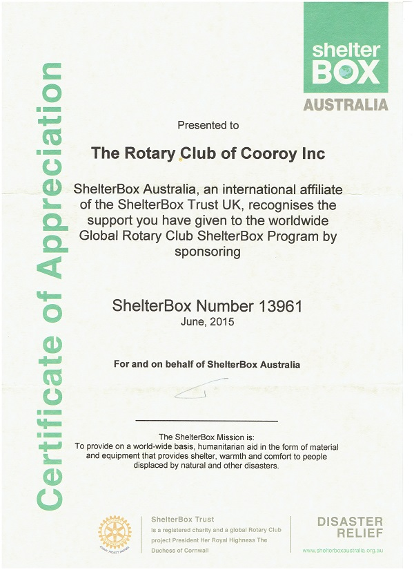Shelterbox Certificate